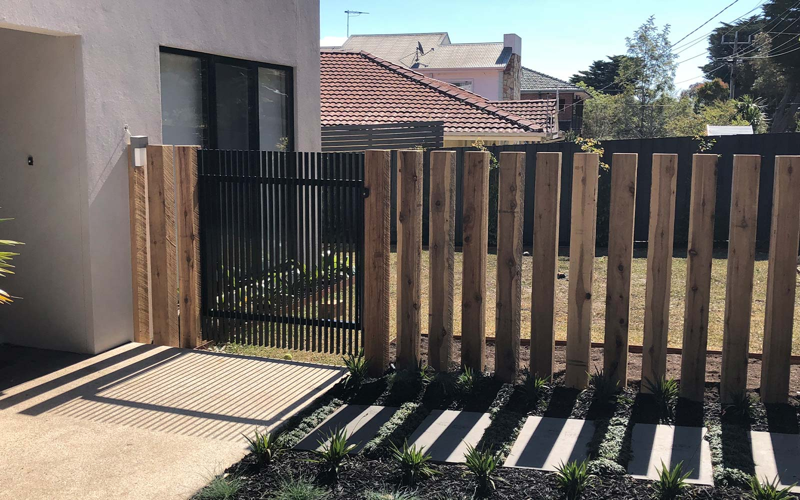 timber and steel pedestrian gate